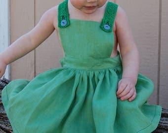 Linen Apron Dress - Green