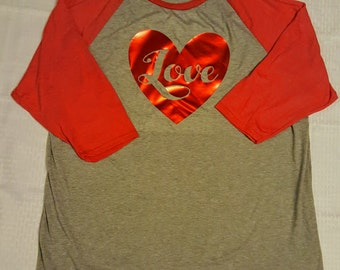 Women's Metallic Love Heart Baseball Tee