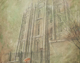 NEW ART! Salt Lake Temple Spring LDS Mormon Temple Art.  Beautiful and Unique Canvas Print for your Home or as a Gift!