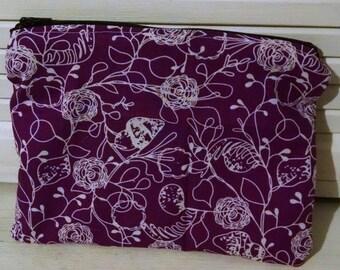 Purple floral zipper pouch