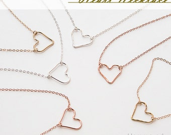Heart Necklace, Dainty Heart Necklace, Silver, Gold or Rose Gold ZN00261
