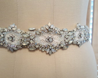 Hand beaded and Embroidered bridal sash, opal bridal sash, unique bridal sash / belt, opals, wedding accessories, tie belts