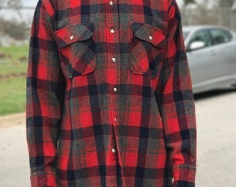 Red and Blue Wool Flannel