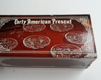 Vintage Anchor Hocking Early American Prescut Set of Six Glass Coasters, Nut Dish, Holiday gift, Retro Kitsch Bar Vintage Gift, Butter Dish