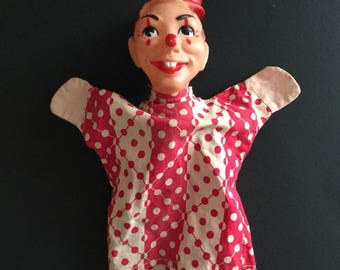 Vintage Hand  Clown Puppet With Polka Dot dress and Red Hat- Tup1