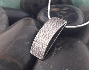 Sterling Silver Pendant, Unique Pendant, Bridge Pendant, Sandblast Texture, Textured Pendant, Oxidized Pendant, Small Bridge Pendant