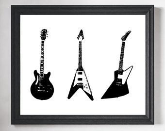 Guitar Art Print, Rock n Roll Decor, Gifts for Him, Gifts for Musicians, Musician Gifts, Rock and Roll Art, Guitar Player Gift, Guitar Print