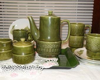 1970's Vintage Lunch Set in Retro Green Tea Set Coffee/Tea Server Creamer Covered Sugar Bowl 4 Cups 4 Plates