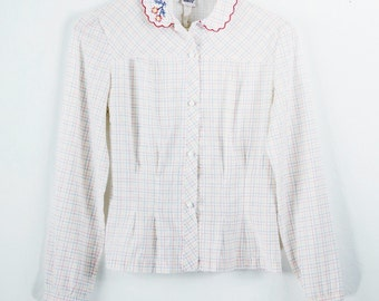 Vintage White Button-Up With Subtle Color Lines and an Embroidered Collar