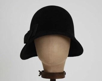 """Black """"Joanne"""" Cloche, Fur Felt Cloche, 1920's Style, Black Cloche"""