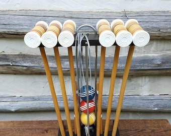 Vintage Croquet Set- Old Sports Equipment- Father's Day Gift- Forster- c. 1960s - Wooden Mallets, with Stand, Wickets, Balls, Wood Markers-