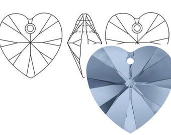 Swarovski 6228 Crystal Heart Pendant 18mm Denim Blue 1PC 3PC