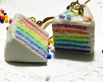 Rainbow Cake, Earrings, Polymer Clay Jewelry, Kawaii, Pastel Rainbow, Miniature Food, Polymer Clay Food, Rainbow Charm, Polymer Clay Charm
