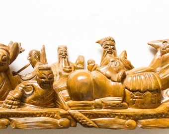 Antique Seven Virtues Wood Carving / Chinese Wood Working / Asian Dragon Boat Statue