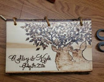 Custom Wood Burned Guestbook