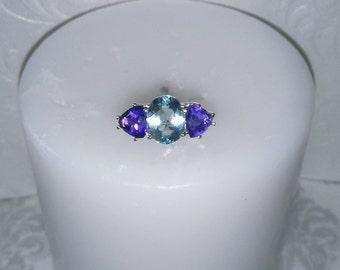 Aquamarine and Amethyst Ring, Natural Multistone Size 7 Ring, Stunning 3 Stone Ring