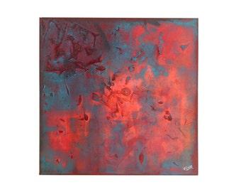 Cornucopia - Acrylic painting abstract art red orange blue