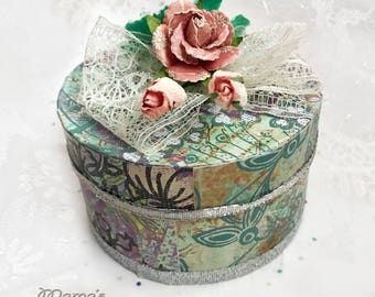 "Vintage Looking Green and Purple Paper Mache Jewelry Box, 3.5""w x 2""h, Roses, Lace, Scrapbook, Birthday, Ribbon, Rhinestones, Flowers"