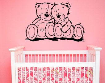 Cute Teddy Bears Wall Decal Vinyl Sticker Valentine Romantic Art Decorations for Home Housewares Kids Baby Room Bedroom Nursery Decor tbr6