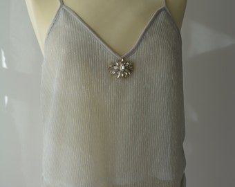 Glamorous silver shimmering ladies top with embellishment
