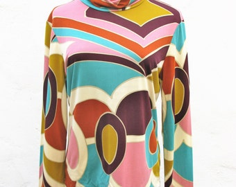 David Meister Retro Print Silk Jersey Turtleneck Top