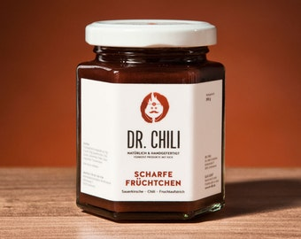 Chili jam fiery cherry Cayenne - little sugar, vegan, sharp, jam, sandwich spread, fruity, homemade