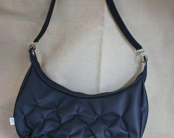 Dark blue grey handbag in leather