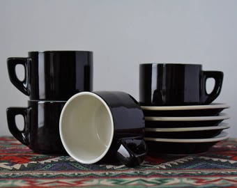 Mid Century Modern Black & White Stackable Espresso Coffee Cups And Saucers - Mod, Geometrical Retro Ceramic - Set of 4