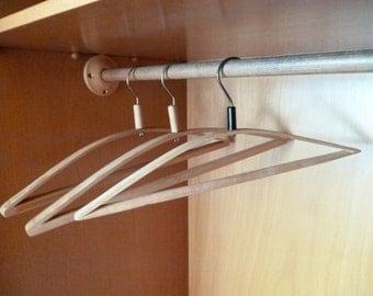 wooden hangers wardrobe closet set clothes coat jacket suit pants double hanger old retro natural wood