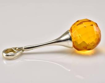 Faceted Pendant, Amber Pendant, Round Amber Pendant, Bead Amber Pendant, Amber Silver Pendant, Cognac Pendant, Handmade Pendant,