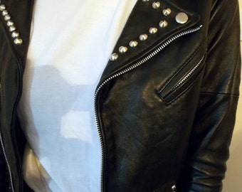 womens studded black leather biker jacket