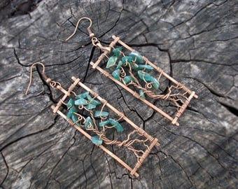 Copper women earrings, Tree of life earrings, Green rectangular hand forged earrings, Long statement natural stone Agate earrings, Geometric