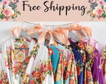 Set of 6, Bridesmaid robes, floral bridesmaid robes, floral robe, bridesmaid pajama set, satin robe, bridesmaid gifts, bridal party robes.