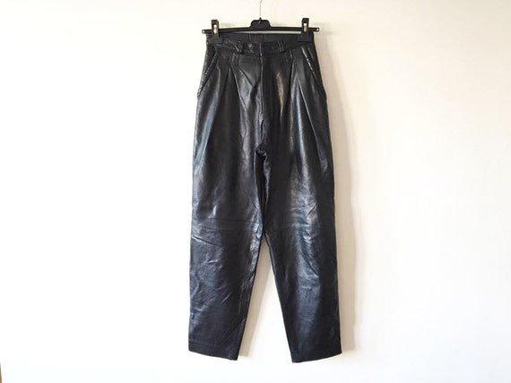 High Waisted Black Leather Pants Womens Genuine Leather Trousers Biker Motorcycle Rockstar Leather Fetish Bike Club Pants Size Large Pants SZVQd