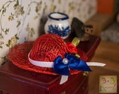 Straw Hats (Red, White, & Blue) -- Dollhouse Miniature 1:12 Scale