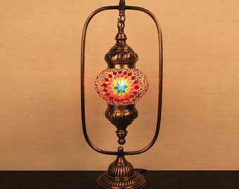 Turkish Moroccan World Mosaic Glass Lamp 5'' 1 Ball , Bedside Lamp Light with Brass Base-Flame