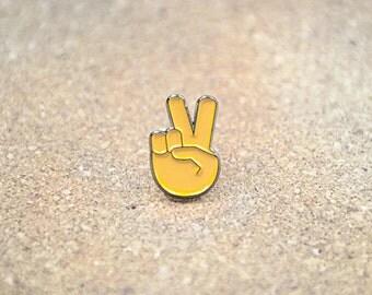 Emoji Peace Hand Symbol Sign Lapel Hat Pin