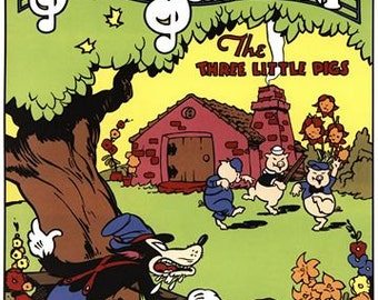 Vintage Three little Pigs Movie Poster A3/A2/A1 Print