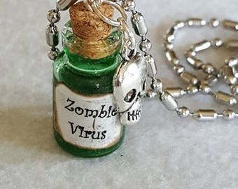 Zombie Virus Charm Necklace, Virus, Walking Dead, zombie apocalypse