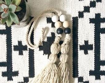 wood bead garland, tassel garland, bohemian decor, rustic garland, garland, wood beads, bead garland,wooden bead,boho decor,curtain tie back