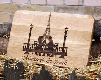 Wedding gift for couple Personalized cutting board Anniversary gift for her Engagement present idea Wooden cheese board Paris kitchen decor