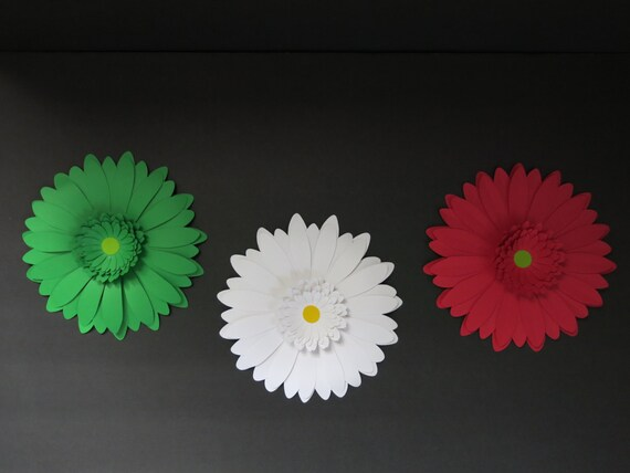 Set Giant Daisy Wall Decor Red White Green 8 paper