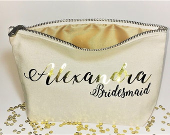 Personalized wedding makeup bag- Canvas cosmetic bag- Gifts for bridesmaid- Wedding favors- Bridal party bags- Zipper pouches.