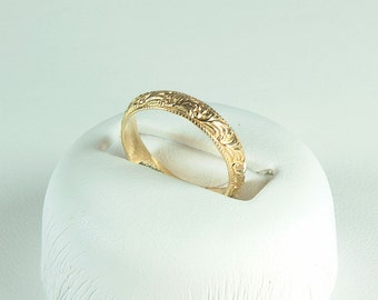 14kt Gold Filigree Ring,14K Gold Ring,Stacking Rings,Minimal Rings,Minimal Gold Ring,Minimal Jewelry,Layered Jewery,Boho,Unique Ring,GiftHer