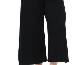 Elastic Waist Wide Leg Crop Culottes Pants Plus Size Black
