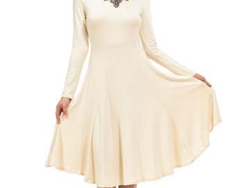 Long Sleeve Fit and Flare Midi Dress Cream