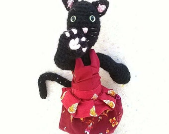 "Amigurumi cat, ""Tulip"", the black kitten, red, yellow and orange dress"