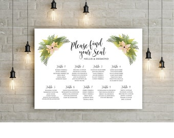 The FERN - Wedding Seating Chart Sign - PRINTED or PDF - Fern Hydrangea Bouquet - Blush Cream Pink Reception - Tropical Beach Table Names