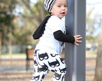 super hero leggings - baby leggings - toddler leggings - harems - bat mask - batman