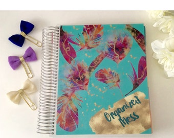 Planner Cover for Erin Condren Planner, Happy Planner, Recollections Planner, A5 Dashboard, Feathers, insert, planner dashboard